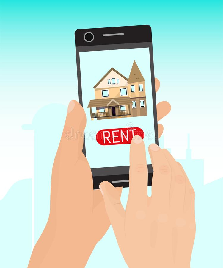 Rent home concept banner vector illustration. Real estate booking app on smartphone screen. Hand hold mobile phone. Finger touches screen. Find apartments vector illustration