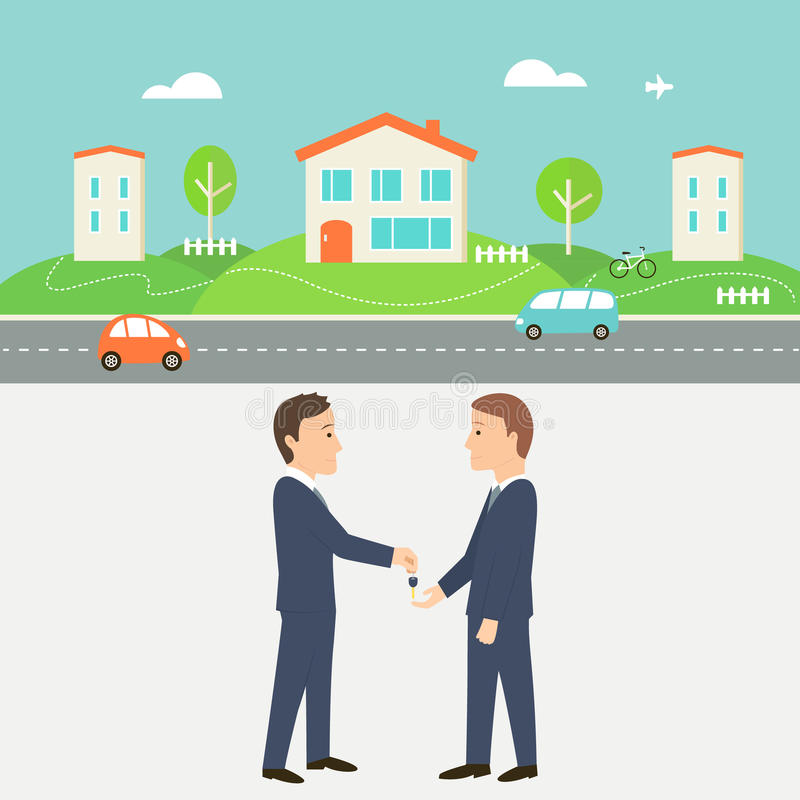 Rent a House Illustration. Collaborative Consumption and Shared Economy. Town Street with Houses, Cars and Road. Real Estate Agent Giving a Key. Shared Economy vector illustration