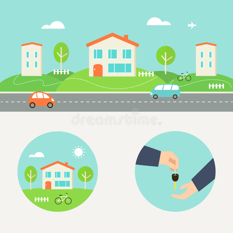 Rent a House Illustration. Collaborative Consumption and Shared Economy. Town Street with Houses, Cars and Road. Real Estate Agent Giving a Key. Shared Economy royalty free illustration
