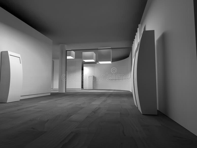 rent konstgalleriutrymme med mellanrumsramar på väggen, ren roo stock illustrationer