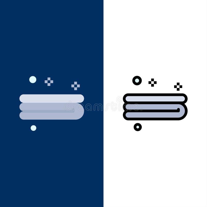 Rent lokalvård, handduksymboler Lägenheten och linjen fylld symbol ställde in blå bakgrund för vektorn vektor illustrationer