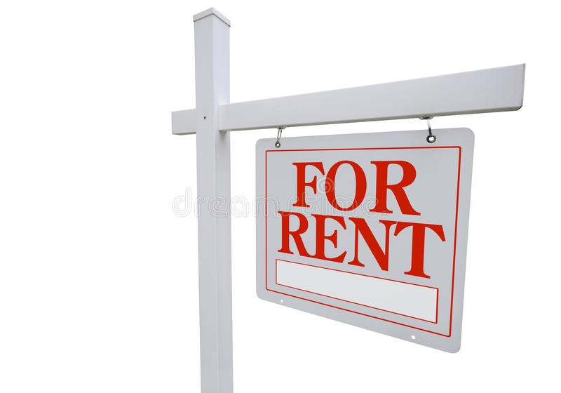 For Rent Real Estate Sign. For Rent. Real estate sign isolated on white background with clipping path