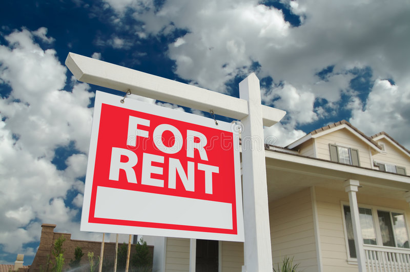 For Rent Sign & House royalty free stock photo