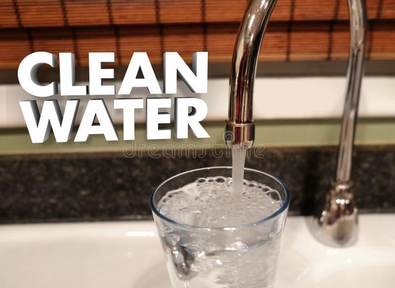 Rent vatten som testar det rena kvalitets- dricka vattenkranklappet royaltyfri illustrationer
