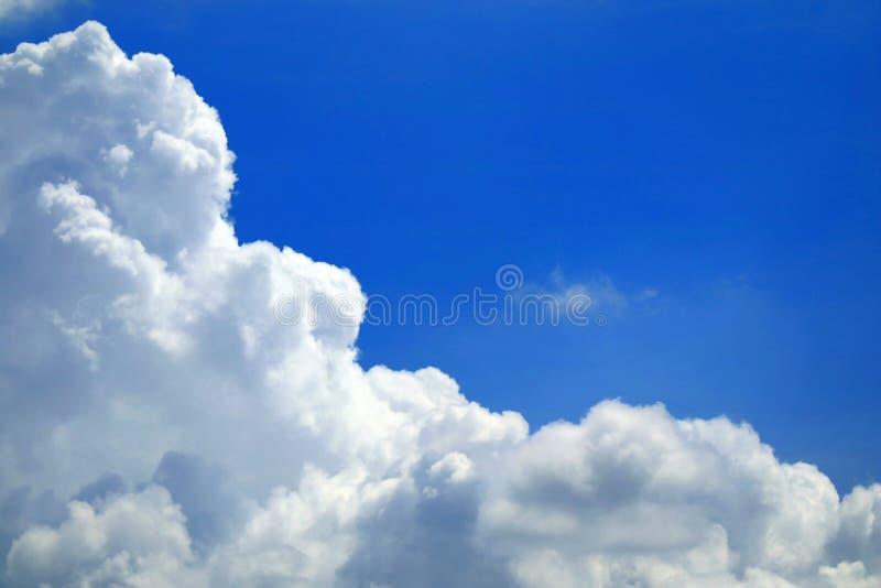 Rent vitt fluffigt stackmolnmoln på den livliga blåa himlen arkivbilder