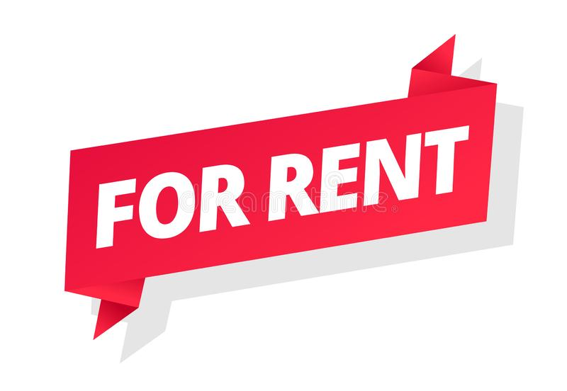 For rent. Word on red ribbon headline. Red tape text title. Real estate property or bike, car rental. Vector flat color. For rent. Word on red ribbon headline royalty free illustration