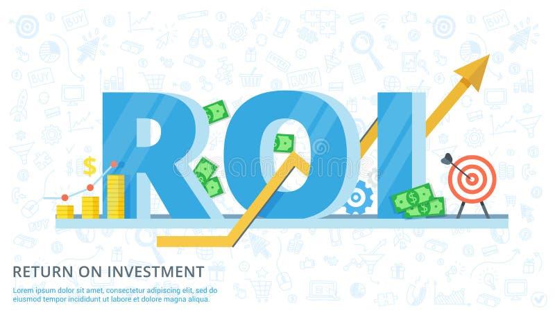 Rentabilidad de la inversión - bandera plana del vector Ejemplo de la eficacia de inversiones en negocio Diseño de concepto del R ilustración del vector