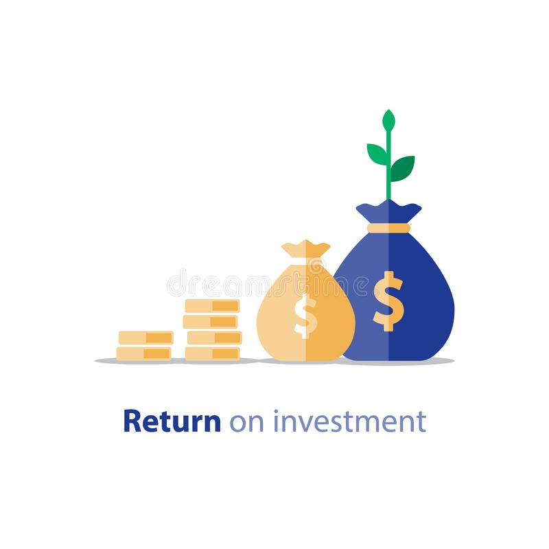 Rentabilidad de la inversión, consolidación de las finanzas, planeamiento del presupuesto, estadística de las finanzas stock de ilustración
