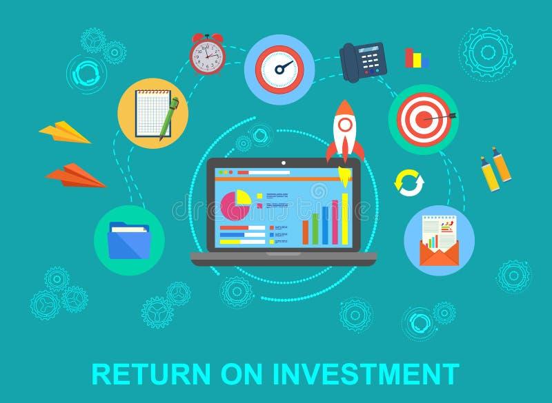 Rentabilidad de la inversión, ROI, negocio, beneficio, ejemplo conceptual de la bandera del vector plano con los iconos en azul libre illustration