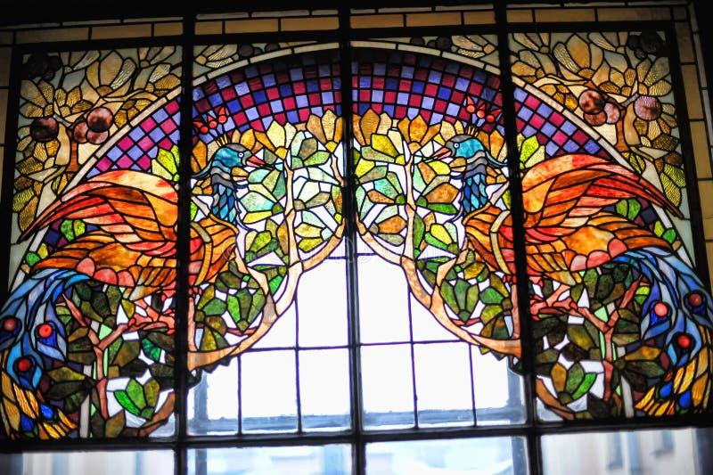 Rentables Haus der Buntglasfenster der Versicherungsgesellschaft stockfotos