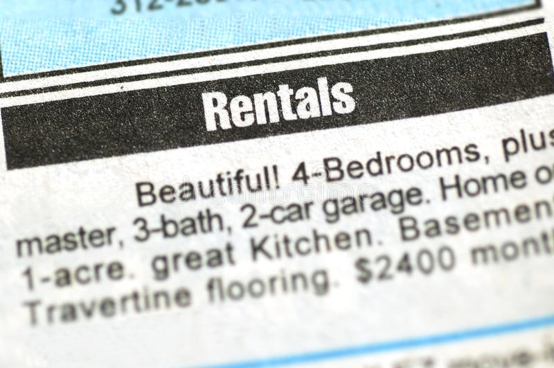 Rental Ad. Closeup shot of a rental ad royalty free stock photo