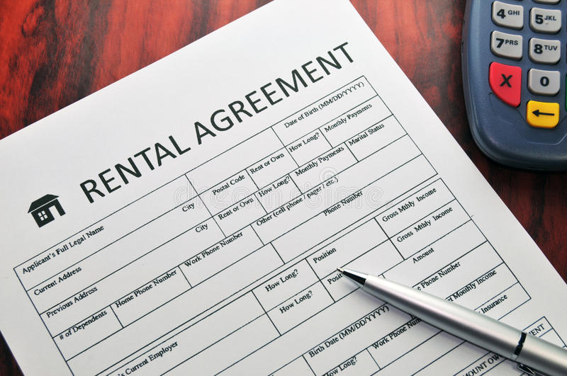 Rental agreement. Pen paper pos stock images