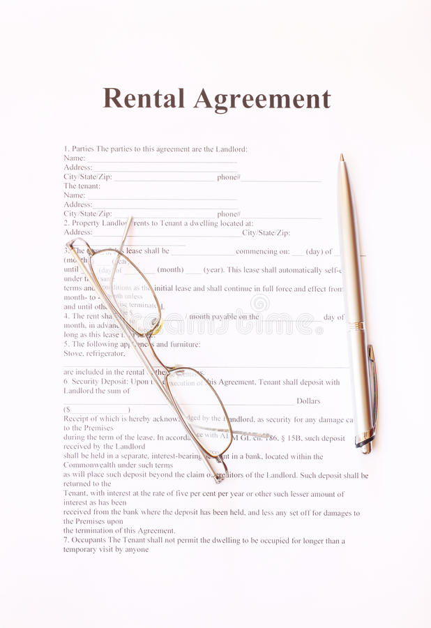 Download Rental Agreement Form With Pen And Glasses Stock Image - Image: 35815793