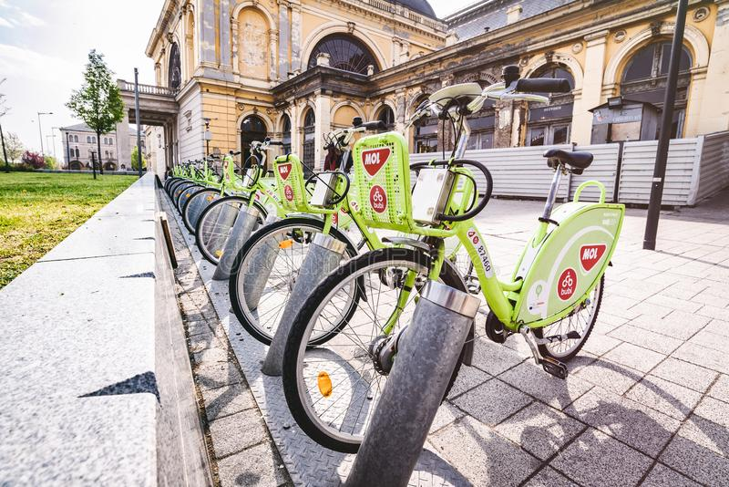 Rental bicycles are found throughout Budapest Hungary royalty free stock images