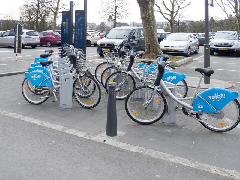 Rental bicycles in Luxembourg city stock image