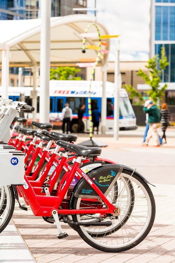 Rental bikes. Denver, Colorado, USA-May 17, 2015. Row of red rental bikes at the Union Station in Denver, Colorado stock image