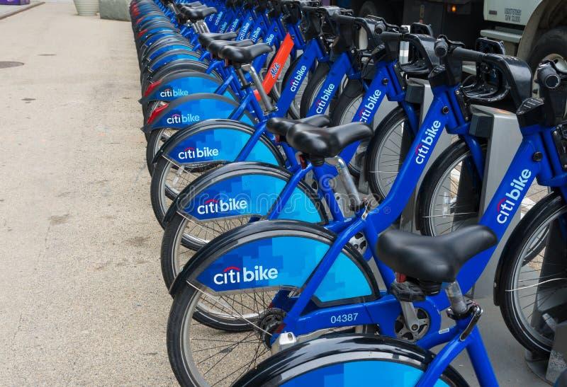 Rental bikes in new york city stock photos