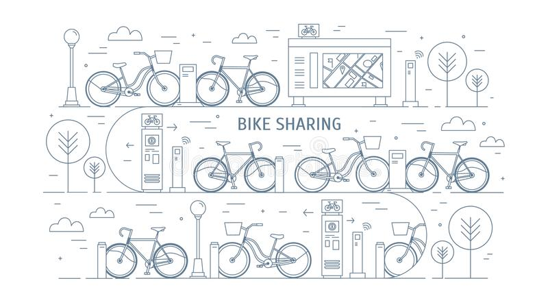 Rental bikes parked at docking stations on city street, electronic payment terminals, map stand and trees. Concept of royalty free illustration