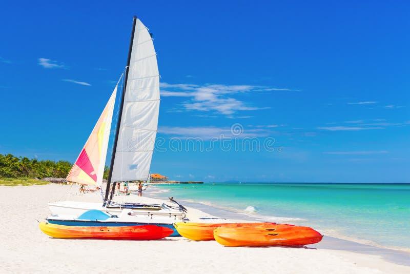 Rental boats at Varadero beach in Cuba stock photography