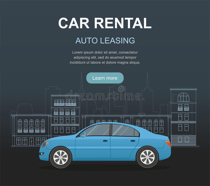 Rental car and Auto leasing banner. Rental concept. Responsive web design. Flat design style concept. stock illustration