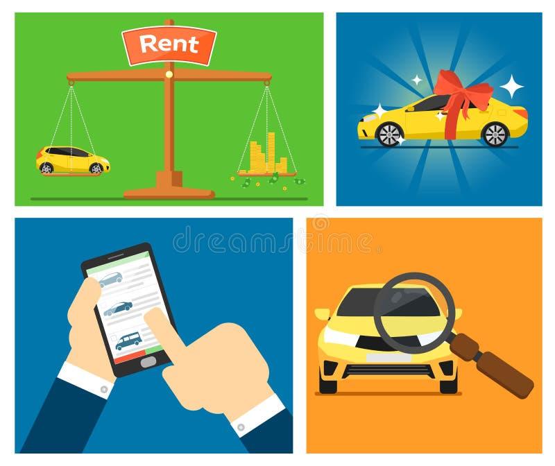 Rental car banners. vector illustration