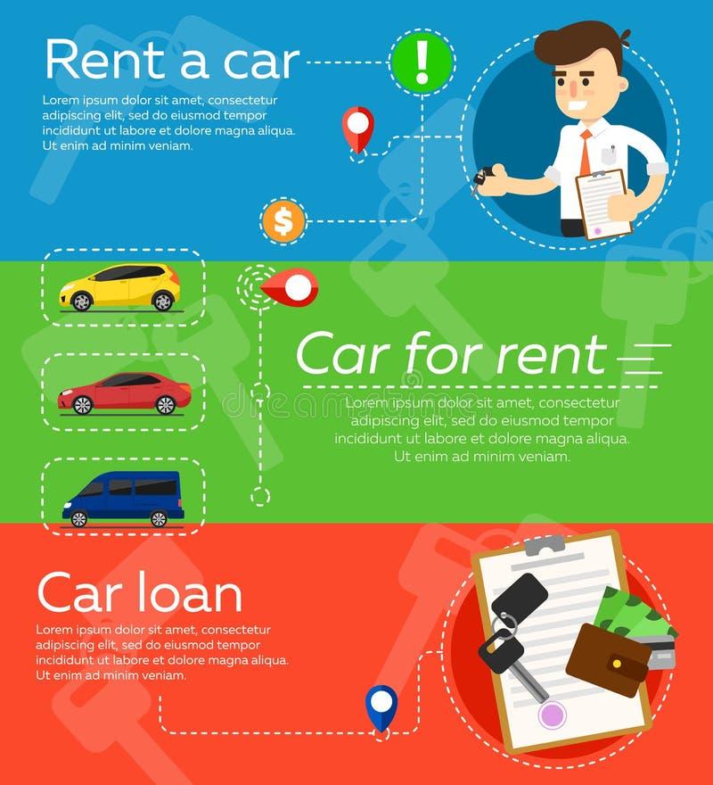 Rental car banners. stock illustration