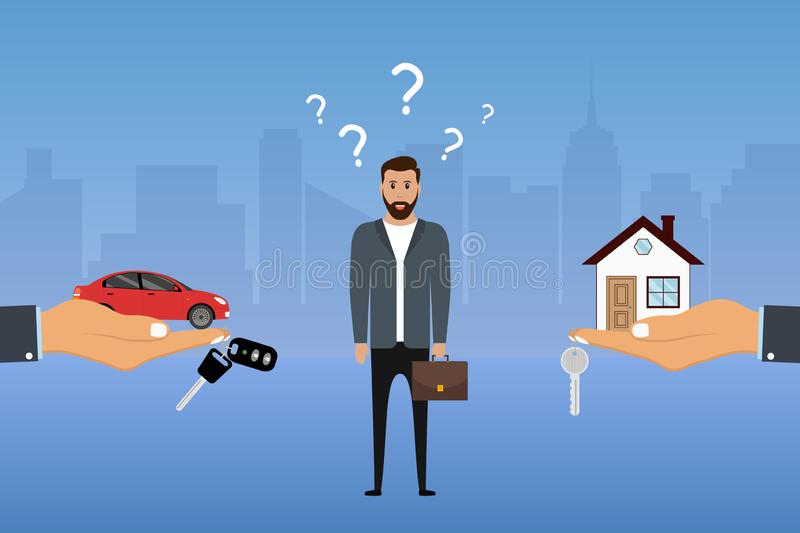 Man makes a choice between a car and a house. Businessman chooses investing options. Buyer decides what to buy. Vector vector illustration