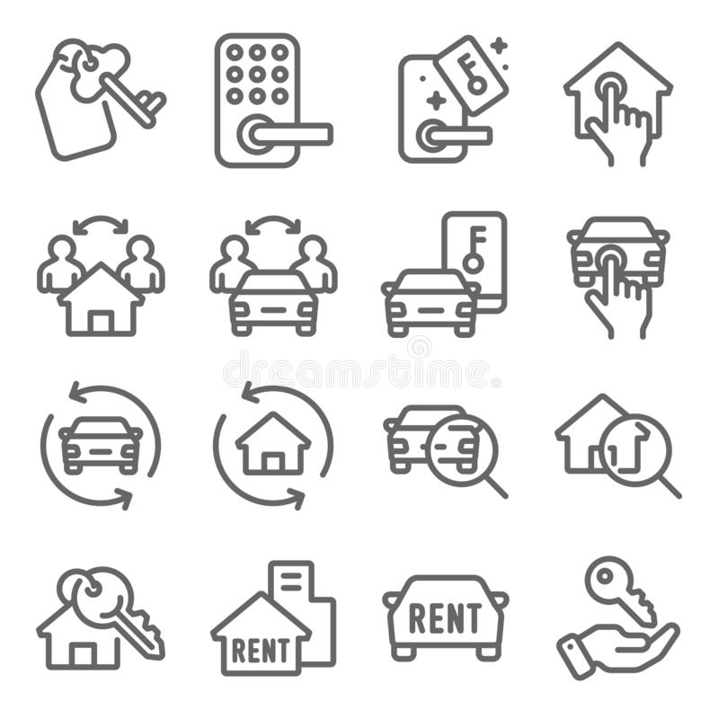 Rental Real Estate Auto Mobil icons set vector illustration. Contains such icon as Car rental, Key card and more. Expanded Stroke vector illustration
