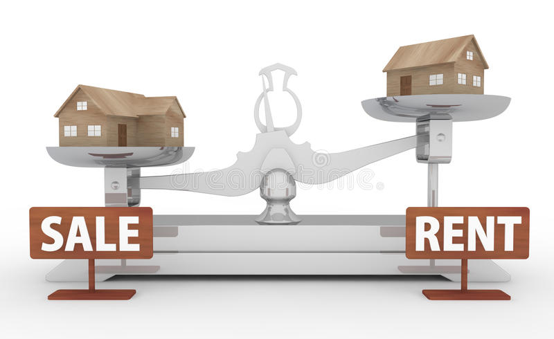 Rental and Sale. Buying a Home. Sale and rental. The advantage of either one. Real estate sales. Pay expenses for life. You lost the case. The house, put in vector illustration