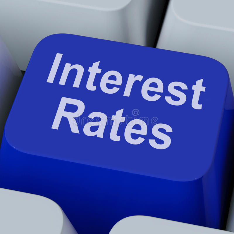Rente Online Rate Key Shows Investment Percent stock afbeelding
