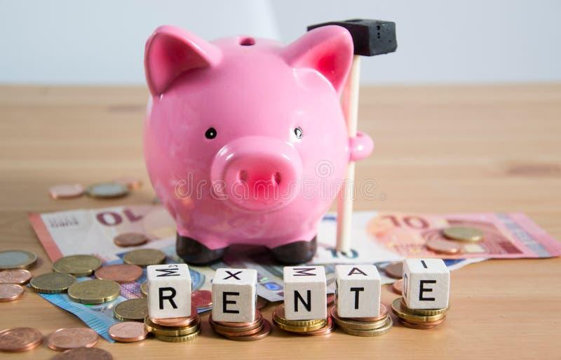Rente - a palavra alemão para a pensão foto de stock