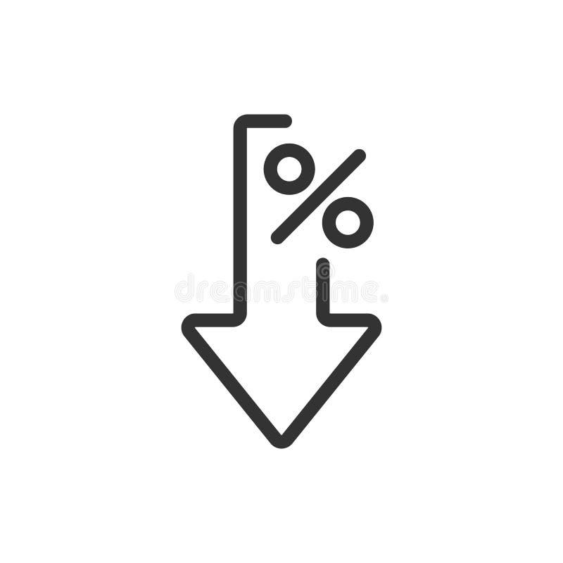 Rentevermindering of percentage lager dan het pictogram van de thin line vector vector illustratie