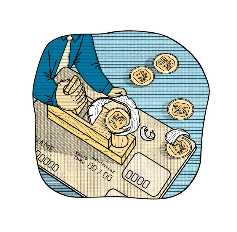 Rentevoeten op betaalpassen Een mens met een vliegtuig verwijdert het percentageinkomen in de vorm van spaanders van een betaalpa royalty-vrije illustratie