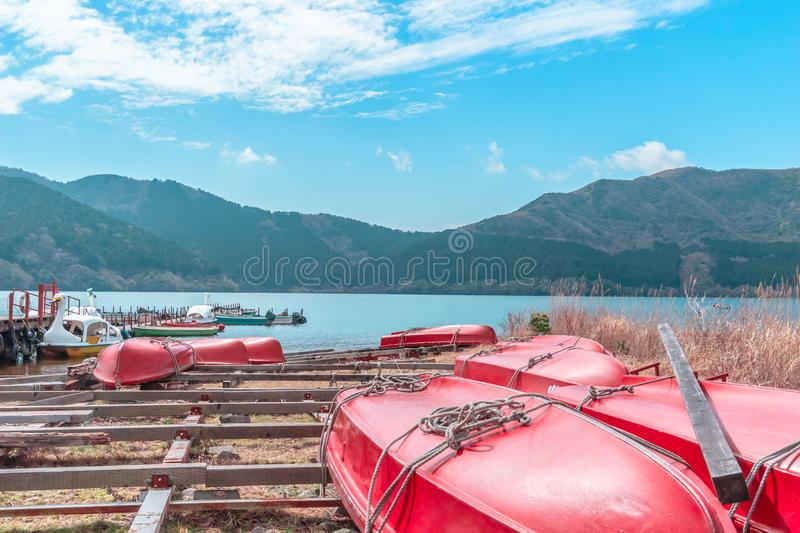 Boat on Ashi Lake of Hakone, Japan stock photo