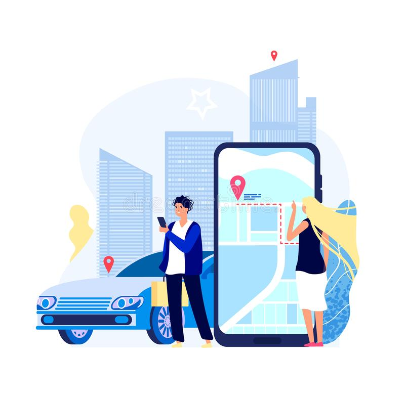 Renting cars concept. Car rent app carshare transport payment with smartphone auto driver sharing taxi search vector vector illustration