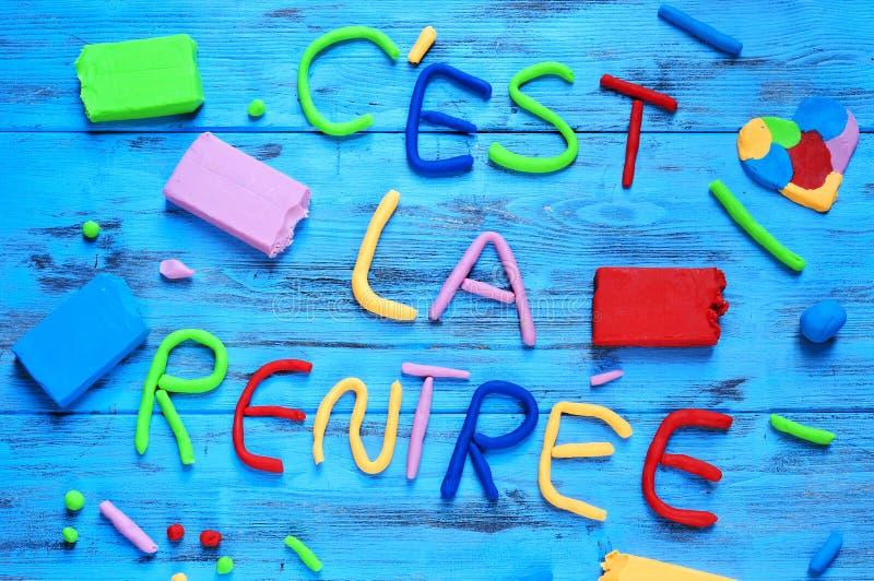Rentree Ла Cest, назад к школе написанной в французском стоковое фото