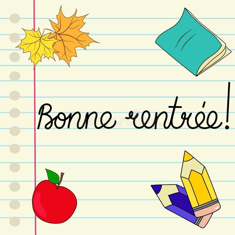 Rentree Bonne каллиграфическая литерность руки во французской задней части в школу на тетради чернил выровняла страницу покрасило бесплатная иллюстрация