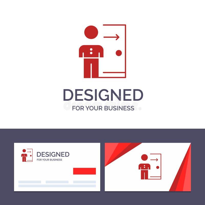 Renvoi de visite de calibre créatif de carte de visite professionnelle et de logo, employé, sortie, le travail, licenciement, per illustration de vecteur