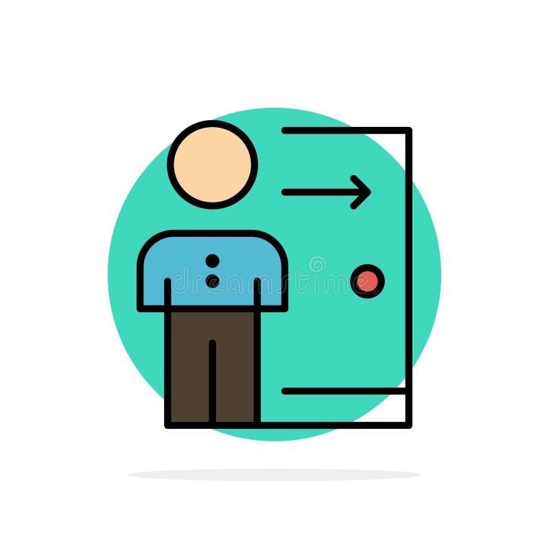 Renvoi, employé, sortie, le travail, licenciement, personne, icône plate de couleur de fond abstrait personnel de cercle illustration de vecteur