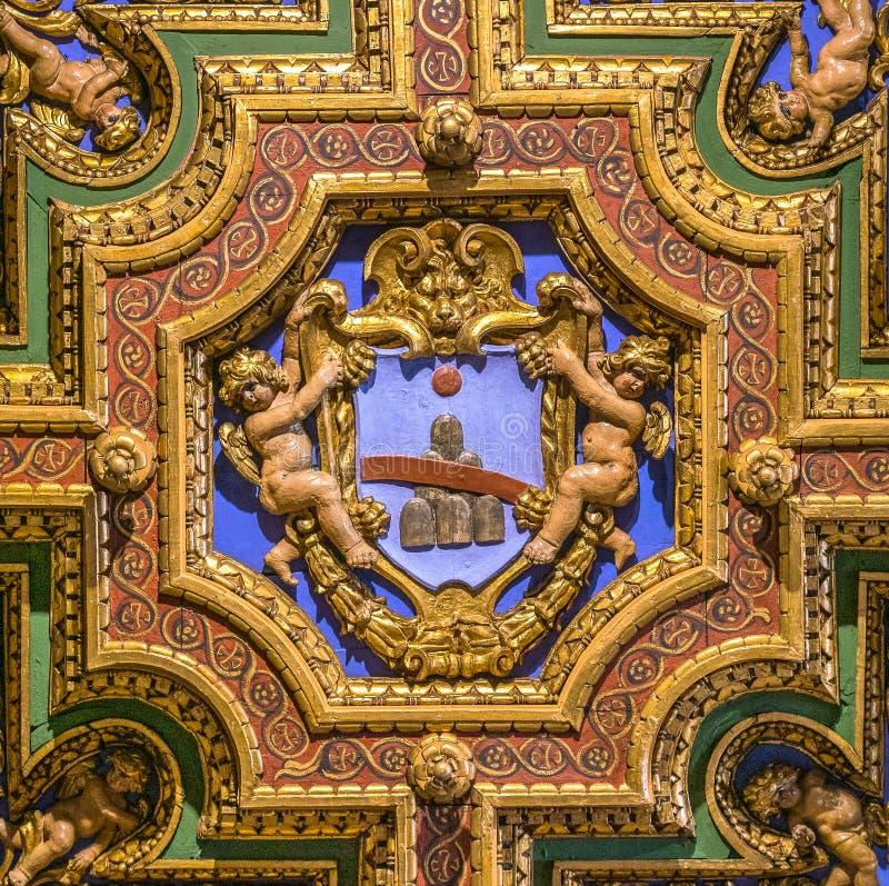 Renzi family coat of arms in the Church of San Girolamo della Carità in Rome, Italy. San Girolamo della Carità is a church in Rome, Italy, located near royalty free stock image