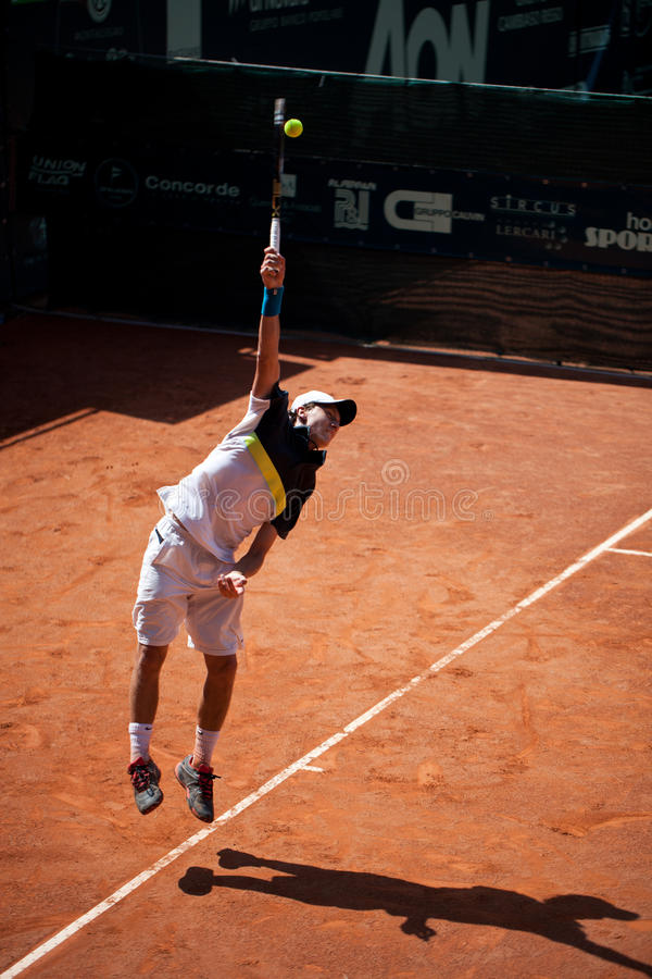 Renzo Olivo Playing At ATP Genoa Open Editorial Photography