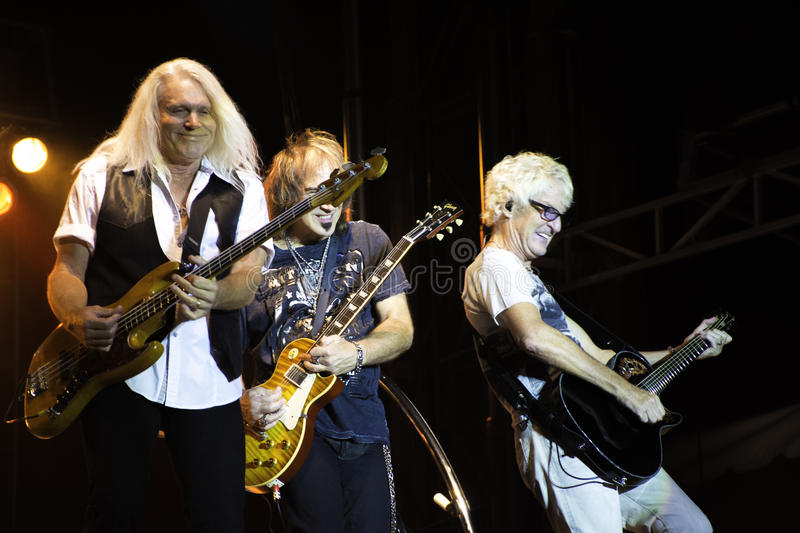 REO Speedwagon Band. REO Speedwagon performs onstage 2014. Bruce Hall, Kevin Cronin and Dave Amato royalty free stock photos