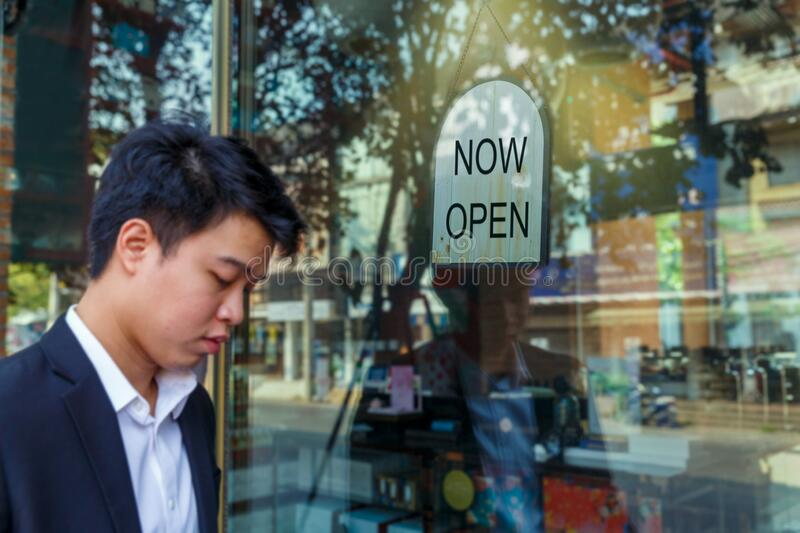 Reopened businesses after covid-19 lockdown. Close up Reopened businesses after covid-19 lockdown royalty free stock image