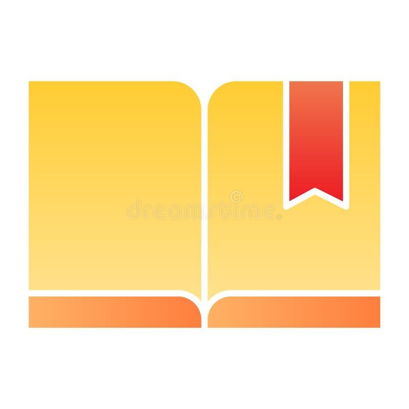 Repère avec l'icône plate de livre Icônes lues de couleur dans le style plat à la mode Conception de style de gradient de la conn illustration stock