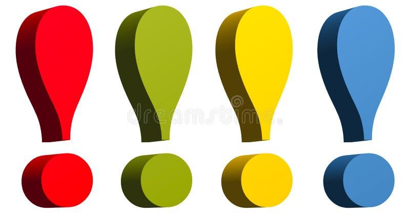 Repère d'exclamation dans le colo jaune et bleu vert rouge image libre de droits