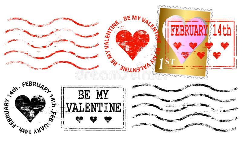 Repère de franchise postale de Valentine illustration stock