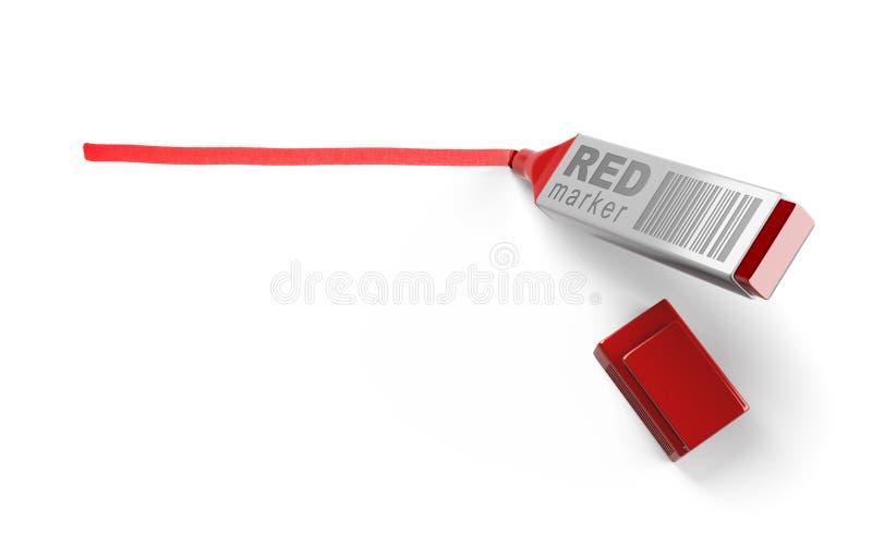 Repère rouge et ligne rouge illustration stock