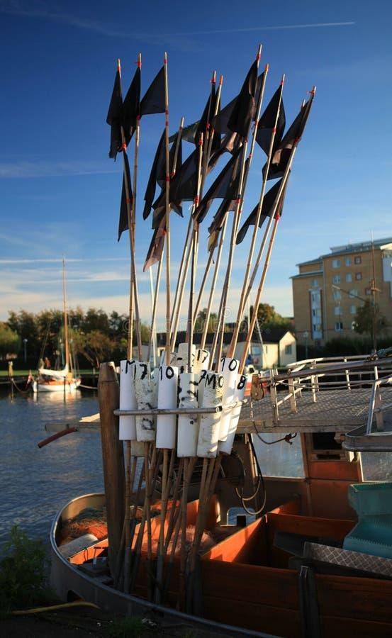 Repères de pêche. photos stock