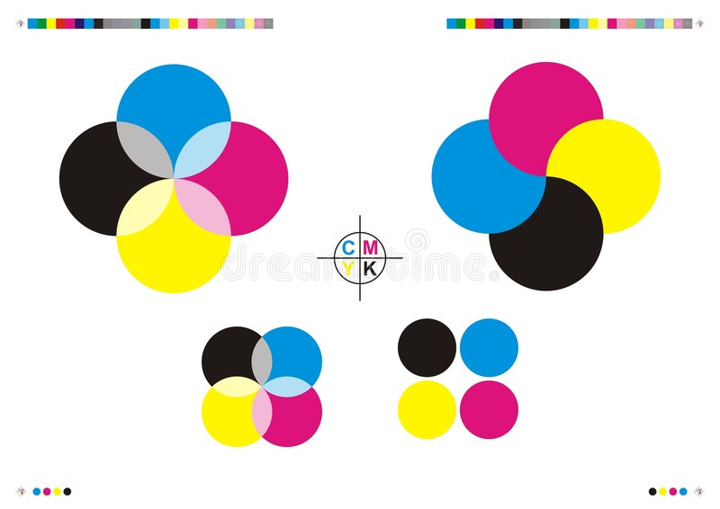 Repères et logos d'impression de CMYK illustration stock