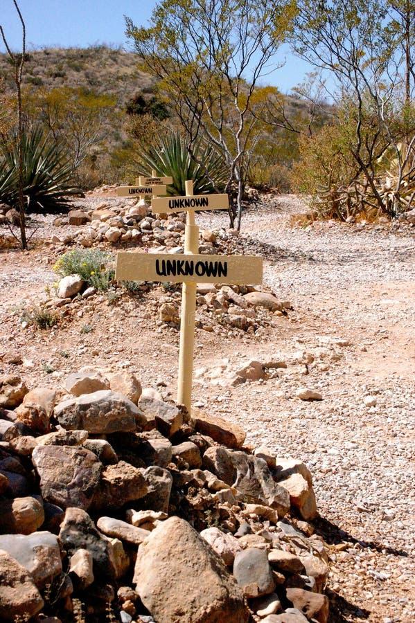 Repères graves inconnus de pierre tombale de Boothill photos libres de droits